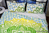 Passion Lime Blue Ombre Mandala Throw Set