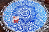 Passion Blue Ombre  Mandala Beach Round Throw
