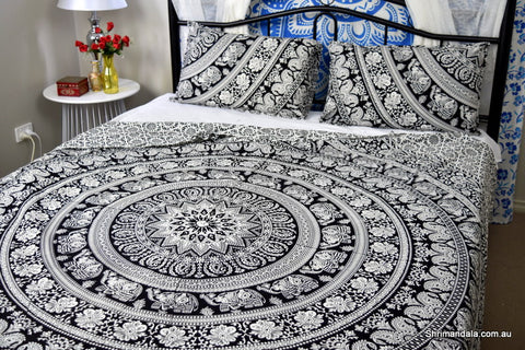 Good Luck Black Mandala Duvet Cover