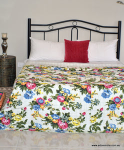Tropical White Kantha Quilt