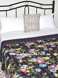 Tropical Black Kantha Quilt