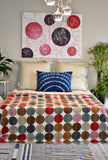 Handmade Earth Polka Dot Cotton Reversible Kantha Quilt Bedspread