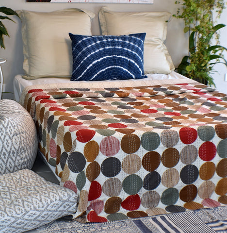 Earth Polka Dot Kantha Quilt
