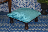 Blue Velvet Wooden Decorative Vintage Footrest Mini Stool