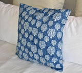 Tree of Life Indigo Hand Block Print Cushion Cover 40cm