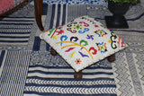 White Multi Embroidery Wooden Decorative Vintage Footrest Mini Stool