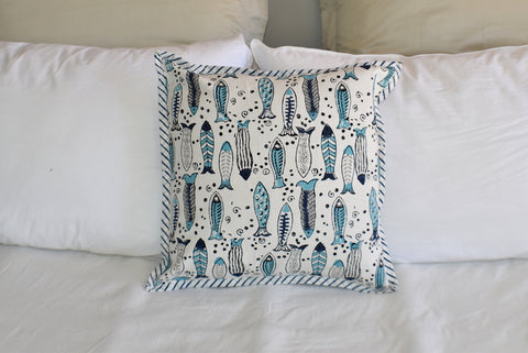 Fish Hand Block Print Cushion Cover 40cms