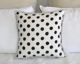 Black Dot Hand Block Print Cushion Cover 40cms