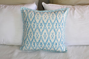 Turquoise Hand Block Ikat Print Cushion Cover 40cms