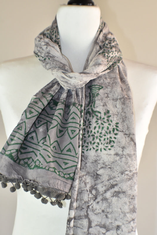 Hand Block Rustic Tree of Life Pomom Scarf