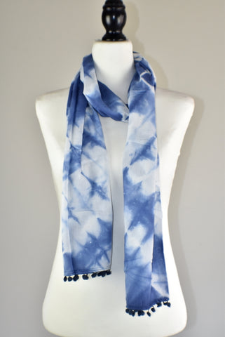 Indigo Blue Tie and Dye Cotton Pompom Scarf