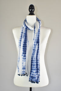 Indigo Blue Tie and Dye Shibori Cotton Pompom Scarf