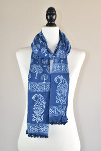 Indigo Blue Block Print Tree of Life Cotton Pompom Scarf