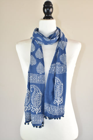Indigo Blue Block Print Heart Cotton Pompom Scarf