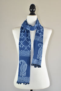 Indigo Blue Block Print Royal Paisley Cotton Pompom Scarf