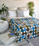 Handmade Blue Polka Dot Cotton Reversible Kantha Quilt Bedspread Throw