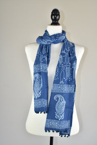 Indigo Blue Block Print Fish Cotton Pompom Scarf