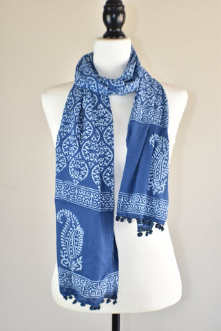 Indigo Blue Block Print Royal Ikat Cotton Pompom Scarf