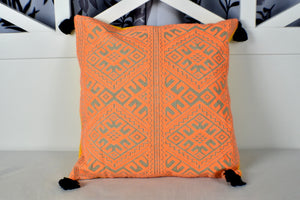 Orange Emboidery Cushion Cover