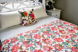 Beige Red Flower Kantha Quilt