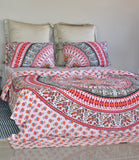 Bird of Prey Red Mandala Duvet Cover