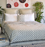 Grey Polka Dot Block Print Kantha Reversible Quilt