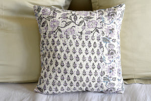 Purple Hand Block Printed Patchwork Cushion Cover