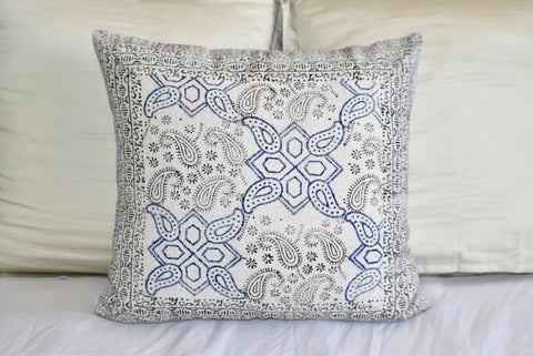Paisley Block Print Cotton Dari Cushion Cover 60cm