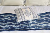 Indigo Royal Block Print Cotton Dari Cushion Cover 45cm
