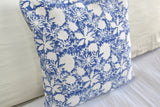 Indigo Flower Block Print Cotton Dari Cushion Cover 45cm