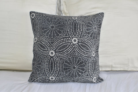 Black Flower Block Print Cotton Dari Cushion Cover 45cm