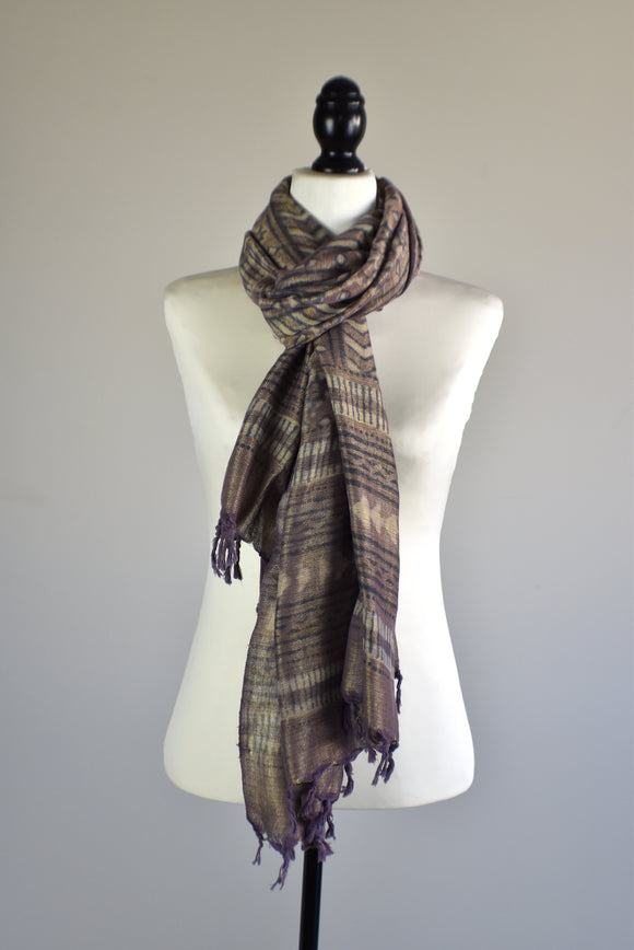 Brown Viscose Hand Dyed Printed Scarf