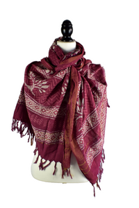 Burgundy Viscose Hand Dyed Scarf