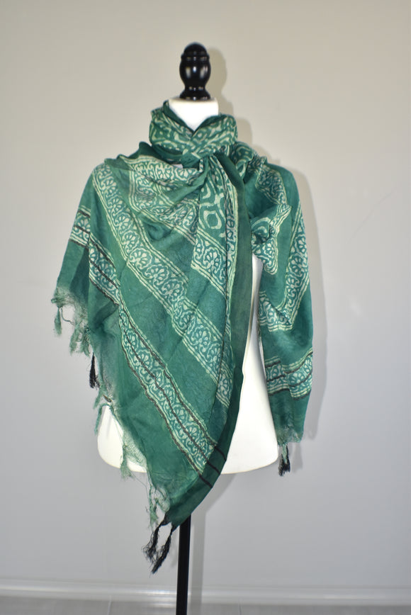 Turquoise Viscose hand dyed tie dye scarf