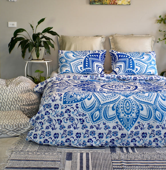 Passion Blue Ombre Mandala Duvet Cover Set