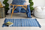 Geometrical Indigo Block Print Dhurrie Carpet Runner
