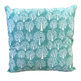 Tree of Life Turquoise Block Print Canvas Cotton Cushion Cover Pillow 2Pcs