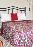 Multi Purple Ikat Kantha Quilt