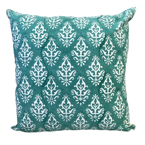 Royal Green Block Print Canvas Cotton Cushion Cover Pillow