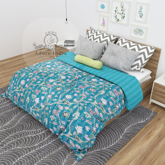 Teal Flower Printed Cotton Kantha Quilt Bedspread Throw