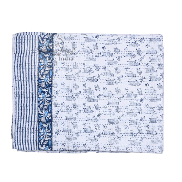 Animal Printed Hand Block Cotton Kantha Reversible Quilt Bedspread