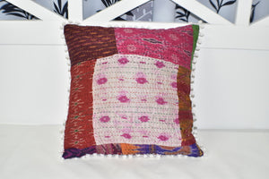 Silk Vintage Kantha Patchwork Pompom Cushion Cover 1
