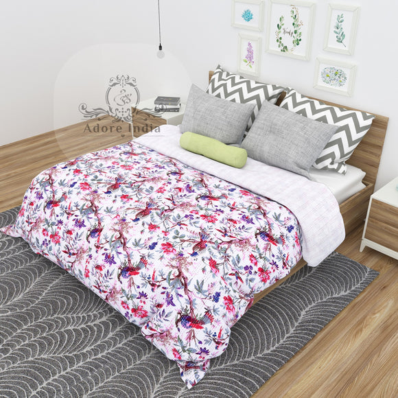 Bird of Prey White Cotton Kantha Quilt Bedspread Throw