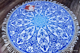 Brahma Blue Mandala Beach Round Throw