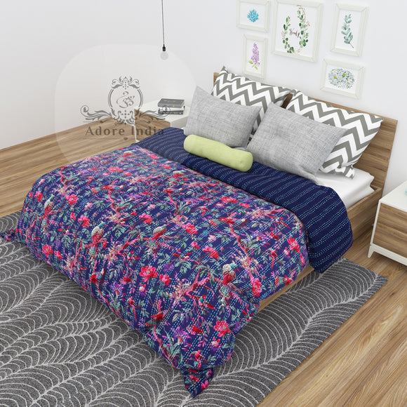 Blue Bird of Prey Cotton Kantha Quilt Bedspread Throw