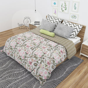 Freedom Floral Printed Indian Kantha Quilt Bedspread Throw