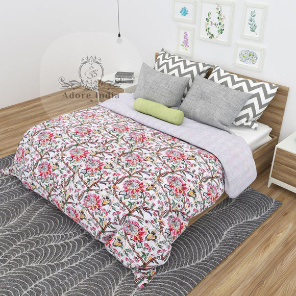 Molly Bloom Indian Cotton Kantha Quilt Bedspread Throw