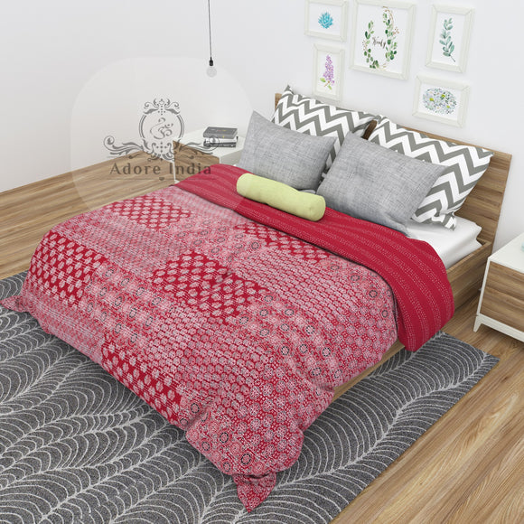 Red Block Print Patchwork Cotton Kantha Quilt Bedspread
