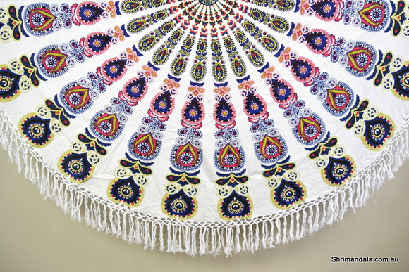 Harmony Navy Mandala Beach Round Throw