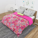 Pink Paisley Print Cotton Kantha Quilt Bedspread Throw